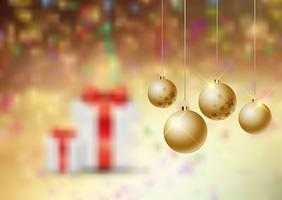 Christmas baubles on a defocussed background vector
