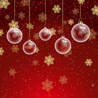 Fondo de Navidad con adornos y copos de nieve.