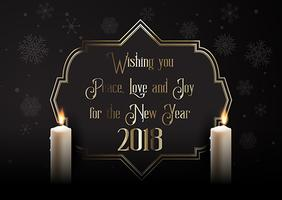 Elegant Happy New Year background with candles vector