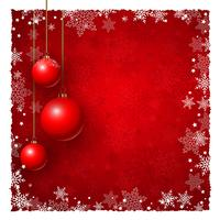 Christmas background with baubles and snowflakes