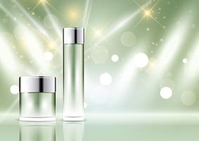 Cosmetic bottle display background vector