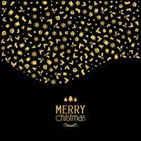 Jul bakgrund med festliga ikoner i metalliska guldfärger