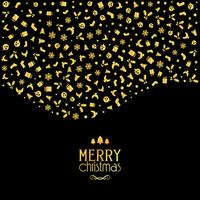 Fondo navideño con iconos festivos en colores dorados metalizados.