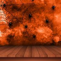 Fundo de dia das bruxas com aranhas no fundo grunge