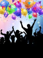 Silhuetas de pessoas de festa em um background de balões e confetes