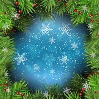 Christmas background with fir tree branches on snowflakes