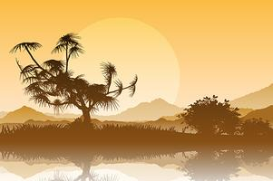 Silhouette of trees against a sunset sky vector