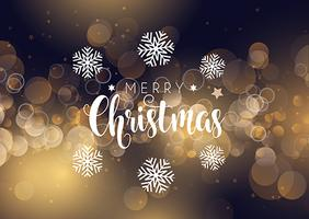 Christmas typography on bokeh lights background vector