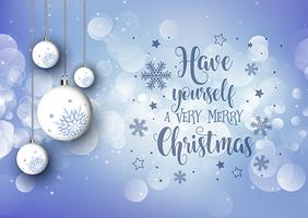 Christmas background with hanging baubles and decorative text