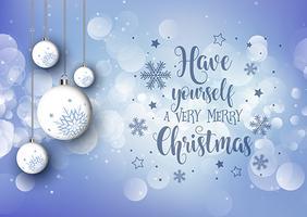 Fondo navideño con adornos colgantes y texto decorativo.