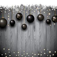 Christmas baubles on a wooden texture background vector
