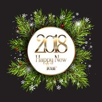 Happy New Year background with snowflakes and fir tree branches vector