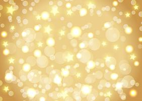 Christmas background of bokeh lights and stars vector