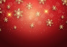 Christmas background with golden snowflakes vector
