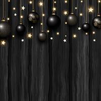 Baubles de Natal e estrelas em uma textura de madeira grunge