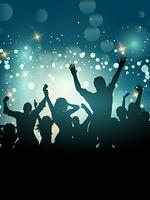 Silhouette of an excited party crowd vector