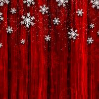 Christmas snowflakes on red wood background