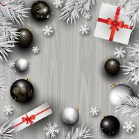Juldekorationer på en träbakgrund