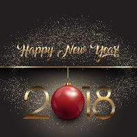 Happy New Year background with hanging bauble and gold glitter