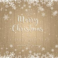 Christmas and New Year text on wooden background