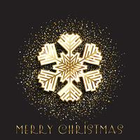 Christmas snowflake on a gold glitter background vector