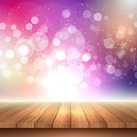 Wooden table looking out to bokeh lights background  vector