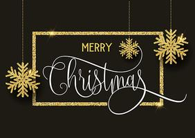 Gold glitter Christmas background vector
