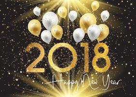 Happy New Year background with gold and silver balloons