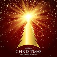 Sfondo dorato dell'albero di Natale