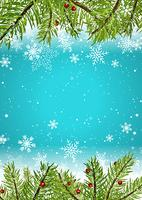 Christmas background with snowflakes and pine tree branches vector