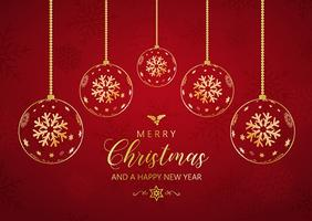 Decorative Christmas and New Year background with hanging bauble vector