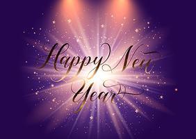 Elegante gelukkig Nieuwjaar achtergrond met starburst ontwerp