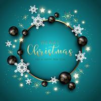 Jul och nyår bakgrund med snöflingor, baubles och d