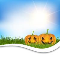 Halloween pumpkins in grass