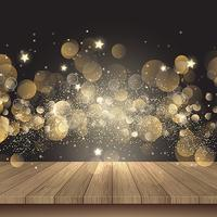 Christmas background with wooden table and golden lights