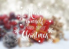 Christmas text on defocussed image