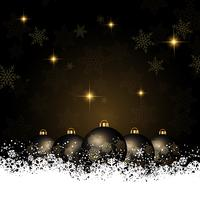 Christmas background with baubles nestled in snow