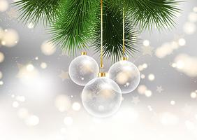 \christmas baubles on bokeh lights background  vector