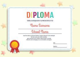 Vector de plantilla de diploma de Kindergarten