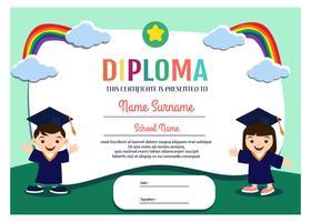 Kindergarten Diploma Template Vector