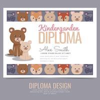 Diploma de jardim de infância de vetor