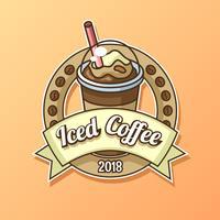 Vettore di logo del caffè ghiacciato