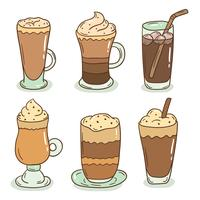 Handdragen Iced Coffee Vector