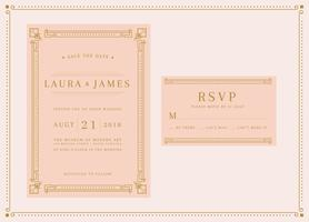 Soft Peach Art Deco Wedding Invitation Template Vector