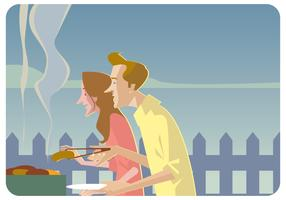Barbeque Couple Party Vector