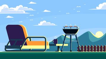 Sunrise Backyard Barbecue Vector