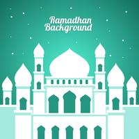 White Mosque Ramadhan Background Vector