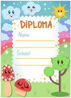 Vecteurs de diplôme de jardin d'enfants