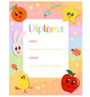 Diploma bonito do jardim de infância