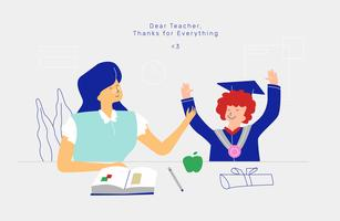 Maestro y estudiante celebran día de maestros Ilustración plana del vector